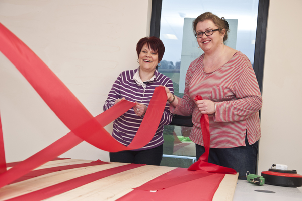 Kirsty & Vicki sorting out the flag's stripes!