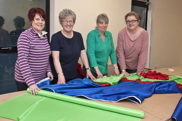 l-r: Kirsty, Didge, Kath & Vicky get started on this year's flags